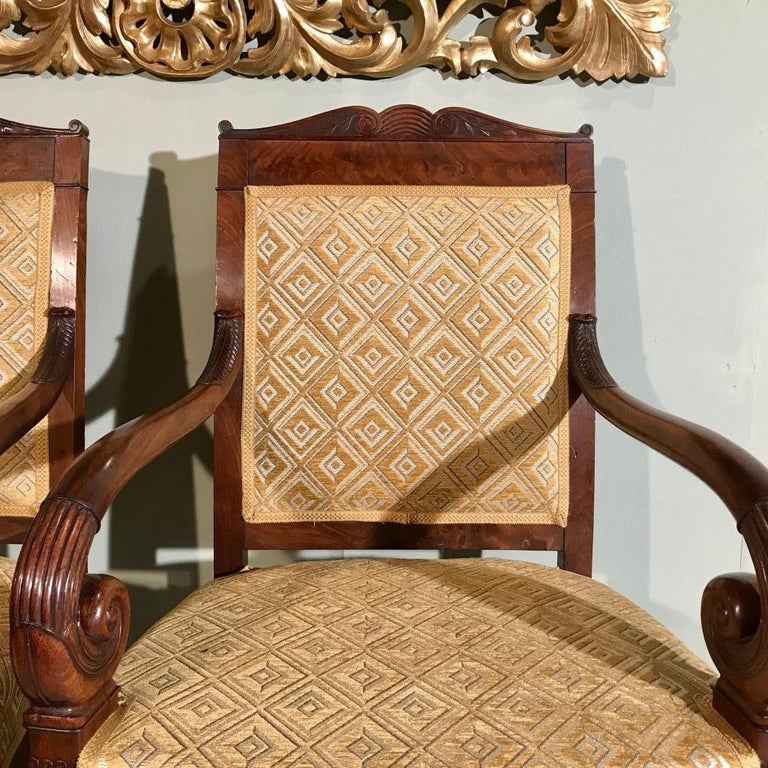Mid-19th Century Pair of 19th Century French Empire Armchairs Fully Reupholstered For Sale