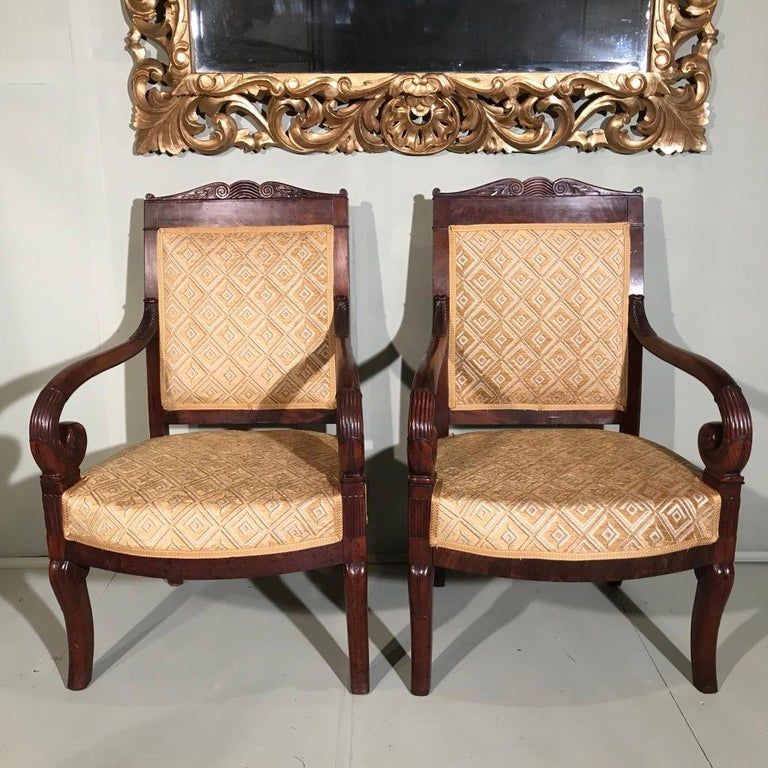 Mahogany Pair of 19th Century French Empire Armchairs Fully Reupholstered For Sale
