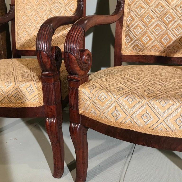 Pair of 19th Century French Empire Armchairs Fully Reupholstered For Sale 2