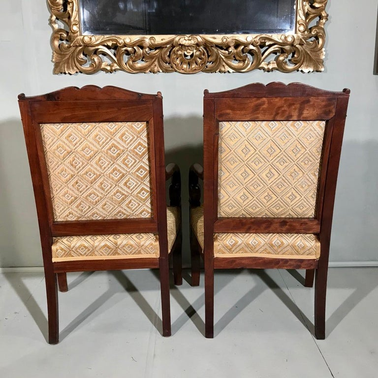 Pair of 19th Century French Empire Armchairs Fully Reupholstered For Sale 3