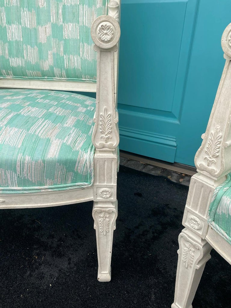 Pair of 19th Century French Empire Armchairs with Custom Finish For Sale 9