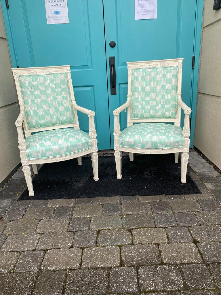 Pair of 19th century French Empire armchairs with custom finish. From a local Atlanta estate. Upholstered in ISOBEL