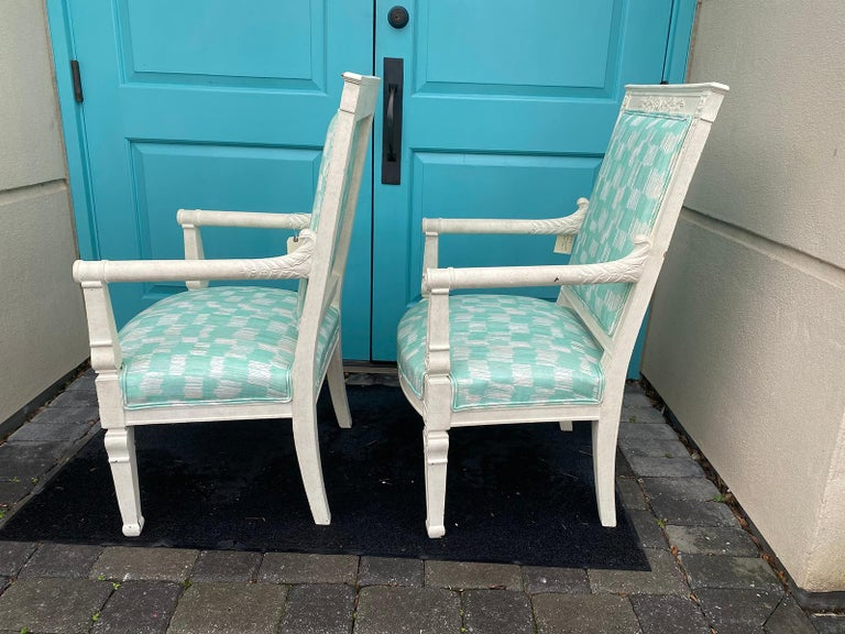 Hand-Painted Pair of 19th Century French Empire Armchairs with Custom Finish For Sale
