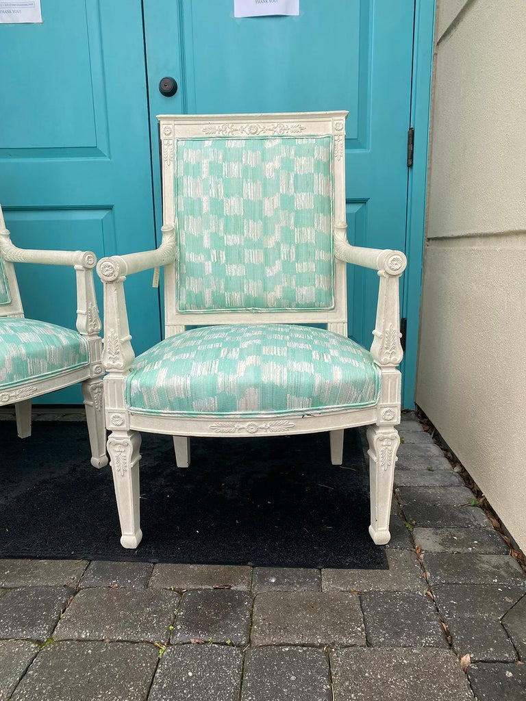 Pair of 19th Century French Empire Armchairs with Custom Finish For Sale 1