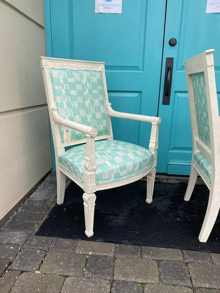 Pair of 19th Century French Empire Armchairs with Custom Finish For Sale 2
