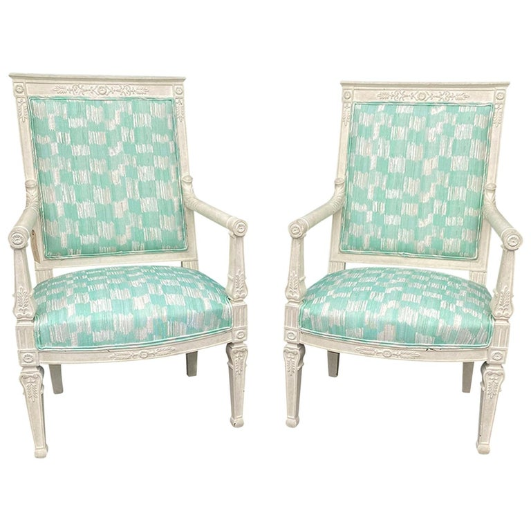 Pair of 19th Century French Empire Armchairs with Custom Finish For Sale