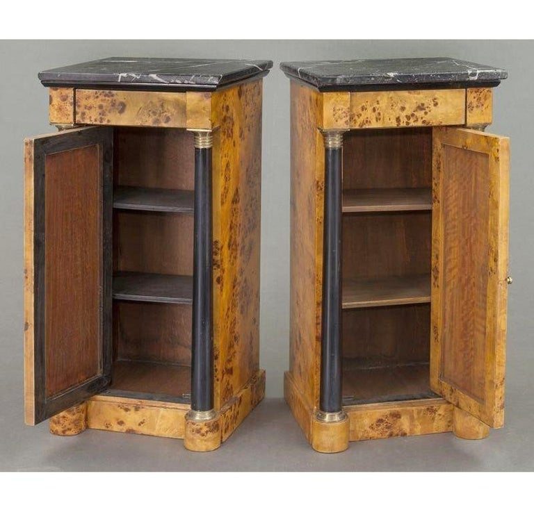 Pair of 19th Century French Empire Elm and Ebonized Nightstands with Marble In Excellent Condition For Sale In Dallas, TX