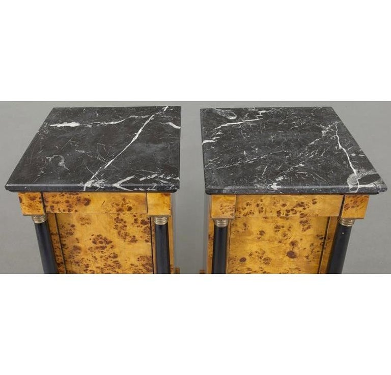Pair of 19th Century French Empire Elm and Ebonized Nightstands with Marble For Sale 1