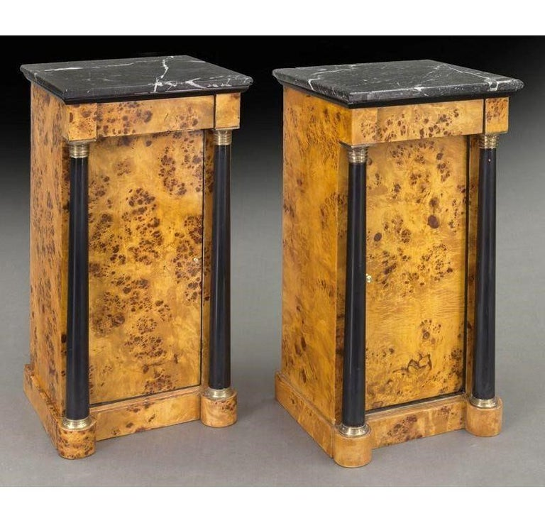 Pair of 19th Century French Empire Elm and Ebonized Nightstands with Marble For Sale 2
