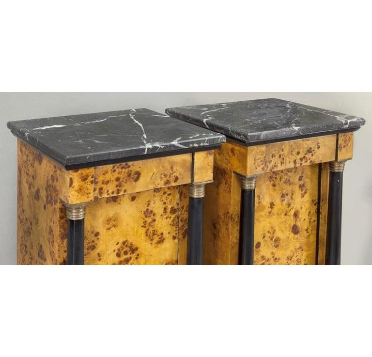 Pair of 19th Century French Empire Elm and Ebonized Nightstands with Marble For Sale 3