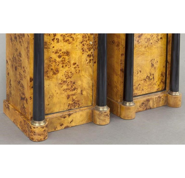 Pair of 19th Century French Empire Elm and Ebonized Nightstands with Marble For Sale 4