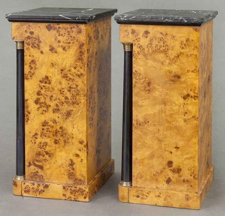 Pair of 19th Century French Empire Elm and Ebonized Nightstands with Marble For Sale 5