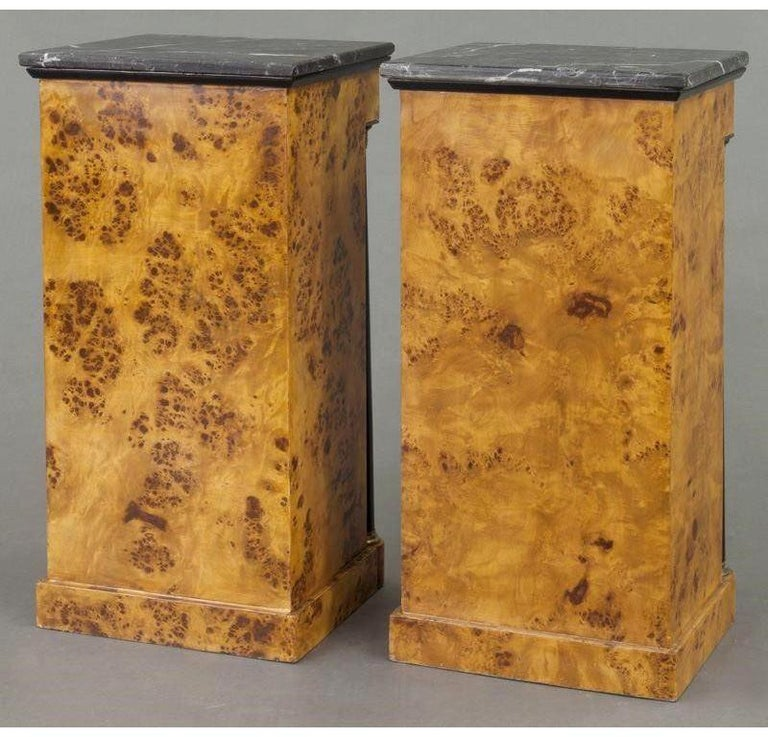 Pair of 19th Century French Empire Elm and Ebonized Nightstands with Marble For Sale 6