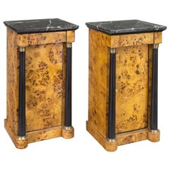 Pair of 19th Century French Empire Elm and Ebonized Nightstands with Marble