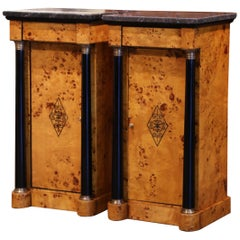 Pair of 19th Century French Empire Elm and Ebonized Nightstands with Marble Tops