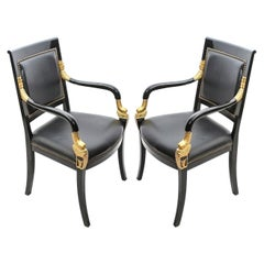 Pair of 19th Century French Empire Lacquered Fauteuils