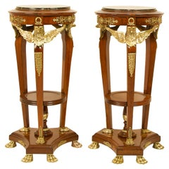 Pair of 19th Century French Empire Mahogany Bronze Eagle Heads Pedestals/Stands