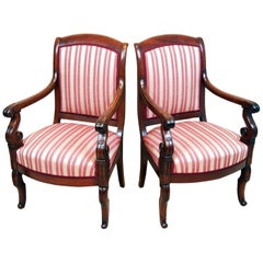 Pair of 19th Century French Empire Mahogany Library Chairs