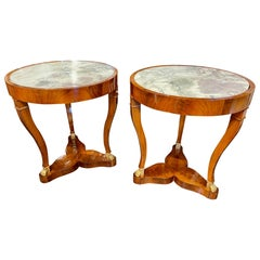 Pair of 19th Century French Empire Mahogany Tables with Inset Breccia Marble