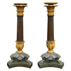 Pair of 19th Century French Empire Style Patinated and Gilt Bronze Candlesticks