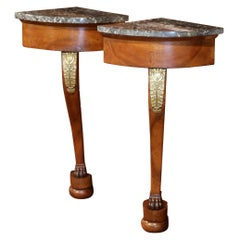 Pair of 19th Century French Empire Walnut Corner Consoles with Grey Marble Top