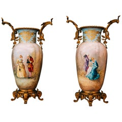 Pair of 19th Century French Enamel on Copper & Pearl Sevres Vases