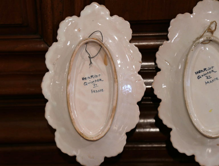 Pair of 19th Century French Faience Oval Wall Plates Signed Henriot Quimper For Sale 6