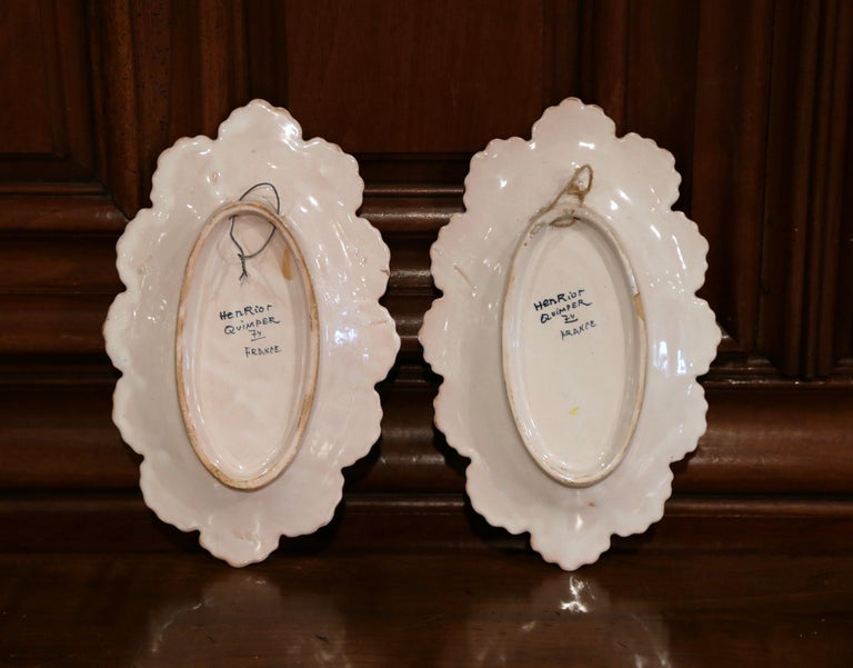 Pair of 19th Century French Faience Oval Wall Plates Signed Henriot Quimper For Sale 4