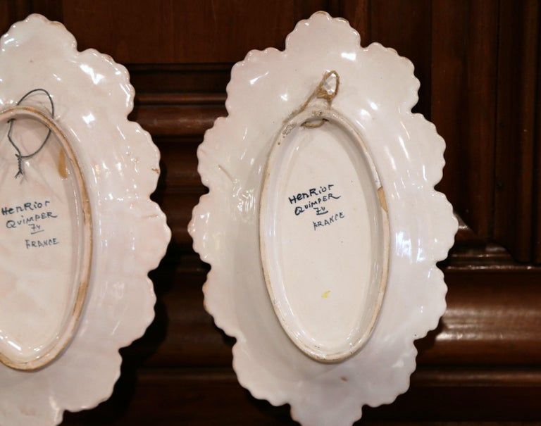 Pair of 19th Century French Faience Oval Wall Plates Signed Henriot Quimper For Sale 5