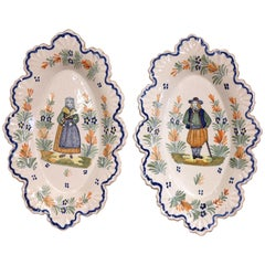 Pair of 19th Century French Faience Oval Wall Plates Signed Henriot Quimper