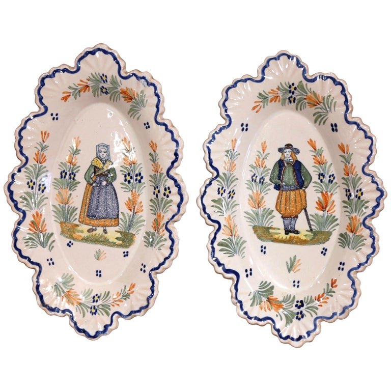 Pair of 19th Century French Faience Oval Wall Plates Signed Henriot Quimper For Sale