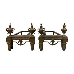 Pair of 19th Century French Fireplace Brass Chenets