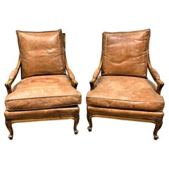 Pair of 19th Century French Fruitwood and Leather Cushion Armchairs