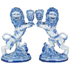 Pair of 19th Century French Gallé Lion Candlesticks