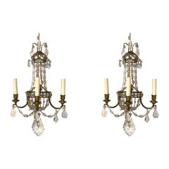 Pair of 19th Century French Gilt Bronze and Crystal 3-Light Sconces