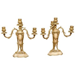 Pair of 19th Century French Gilt Bronze and Marble Candelabras