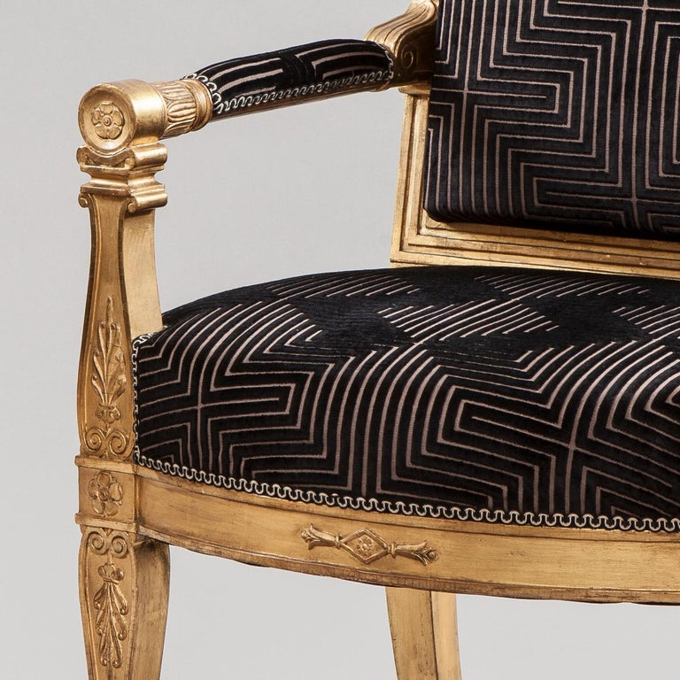 Pair of 19th Century French Giltwood and Black Velvet Armchairs  In Excellent Condition For Sale In London, GB