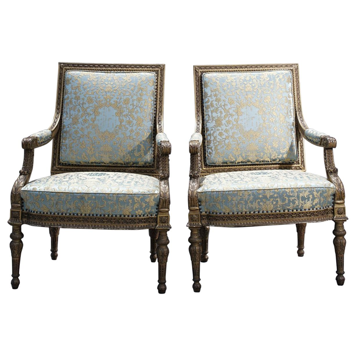 Pair of 19th Century French Giltwood Armchairs