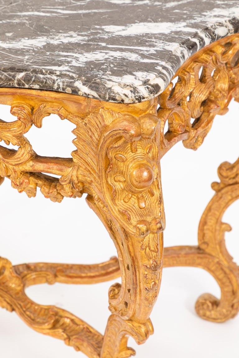 Pair of 19th Century French Giltwood Consoles with Marble Tops For Sale 2