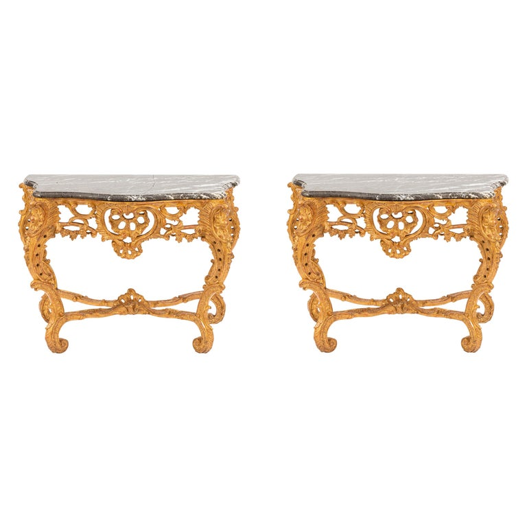 Pair of 19th Century French Giltwood Consoles with Marble Tops For Sale