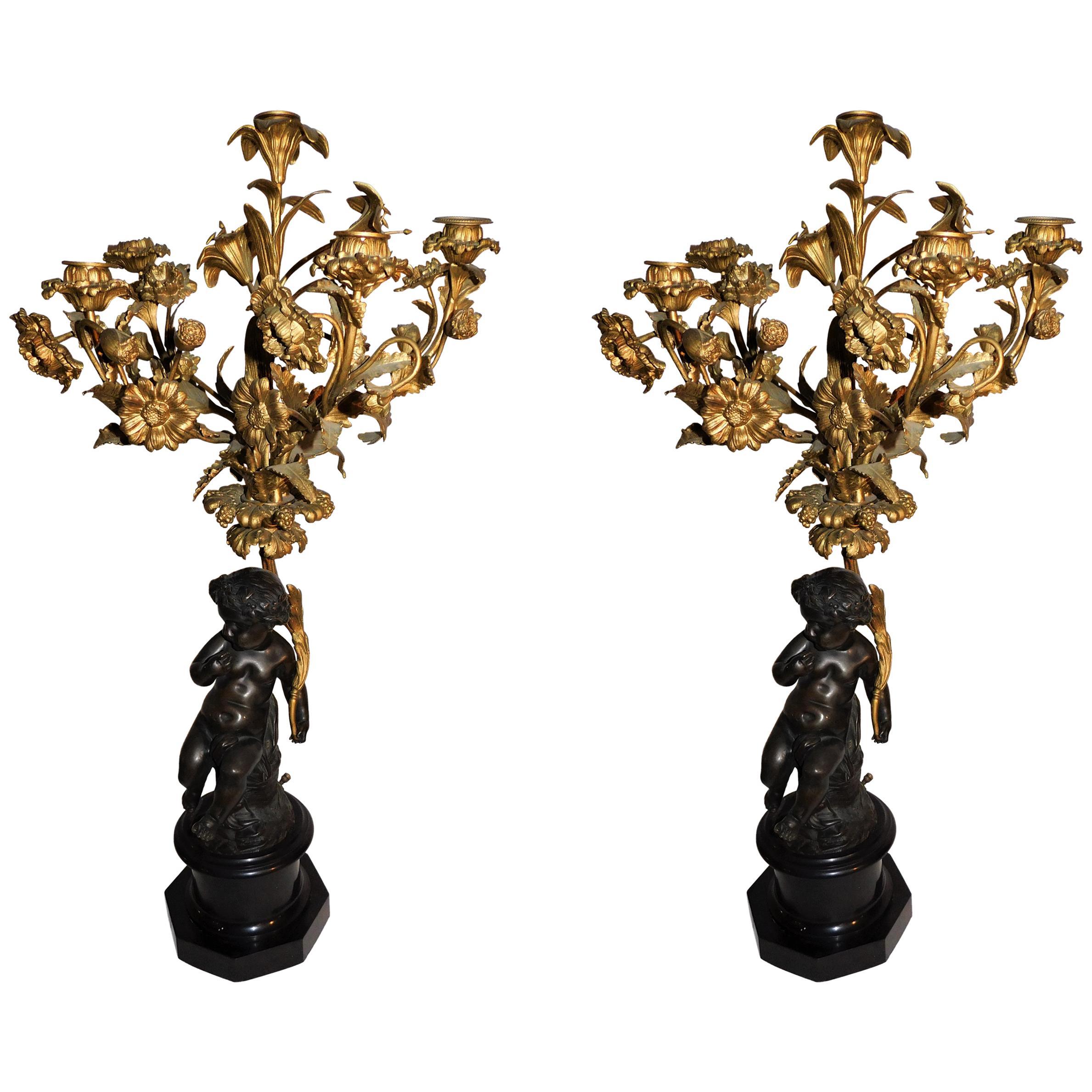 Pair of 19th Century French Gold Gilded Bronze Putti Cherubs Candelabras