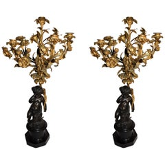 Pair of 19th Century French Gold Gilded Bronze Putti Cherubs Candelabras