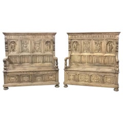 Pair of 19th Century French Hand Carved Stripped Oak Gothic Hall Benches