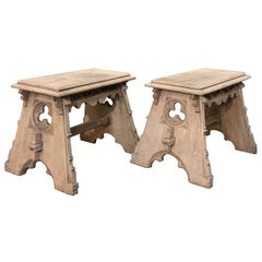 Pair of 19th Century French Gothic Hand-Crafted Stripped Oak Footstools