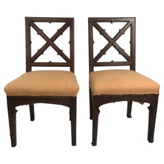 Pair of 19th Century French Gothic Revival X-Back Chairs