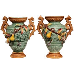 Pair of 19th Century French Hand Painted Barbotine Ceramic Fruit Vases