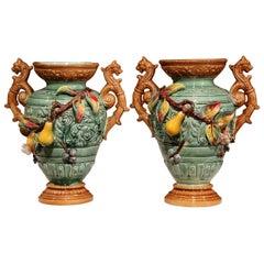 Pair of 19th Century French Hand Painted Barbotine Ceramic Fruit Vases