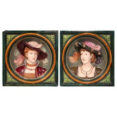 Pair of 19th Century French Hand Painted Ceramic Barbotine Figural Wall Plaques