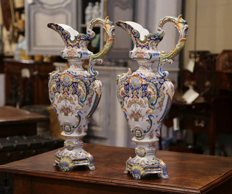 Make a statement on your mantel (fireplace) with these tall, impressive ewers. These antique