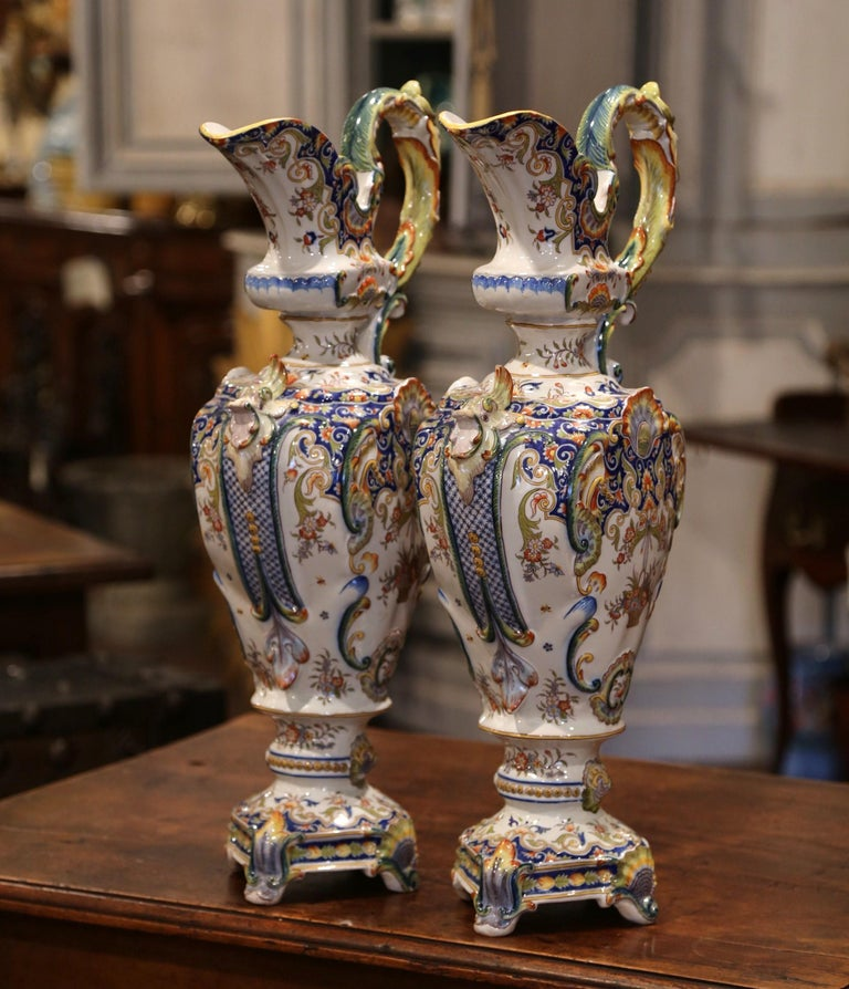 Hand-Crafted Pair of 19th Century French Hand Painted Faience Ewers Jars from Rouen For Sale